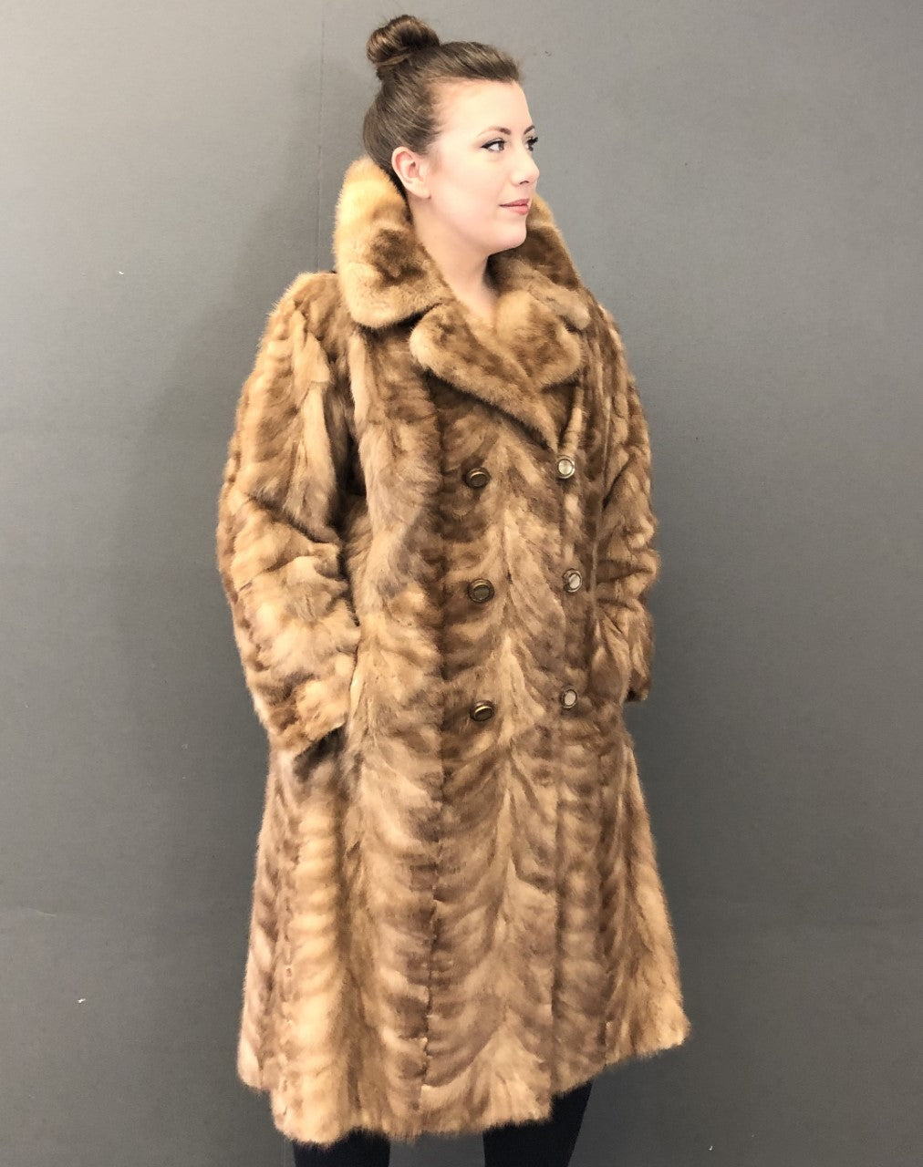 Vintage Pastel Mink Paw Double Breasted Mink Paw Coat