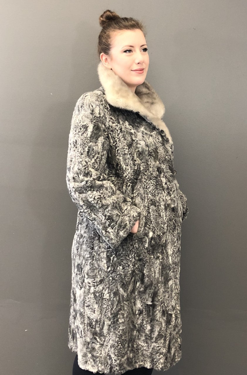 Vintage Grey Persian Lamb Coat -Grey Mink Collar