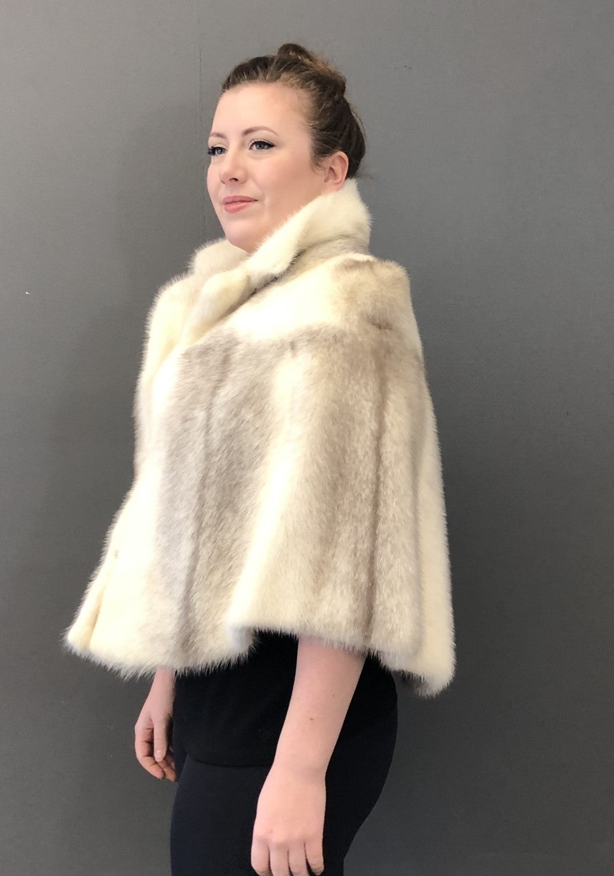 Vintage Grey Cross Female Mink Cape