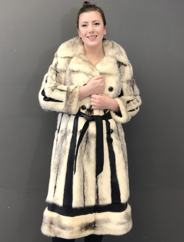Vintage Black Cross Female Mink Coat with Leather Inserts