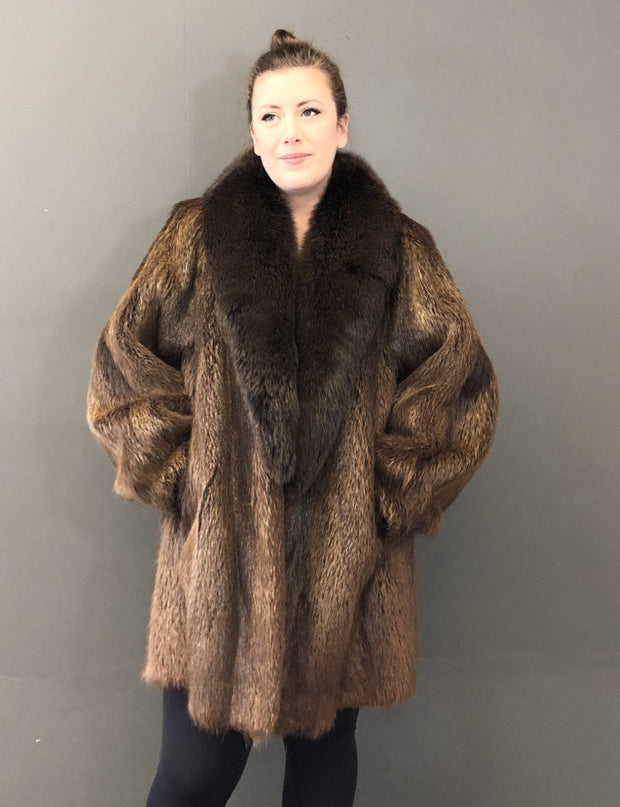 Vintage Natural Nutria 3/4 Jacket with Dyed Fox Collar
