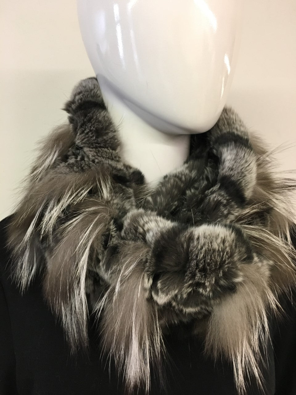 Rex Rabbit & Silver Fox Knitted Infinity Scarf