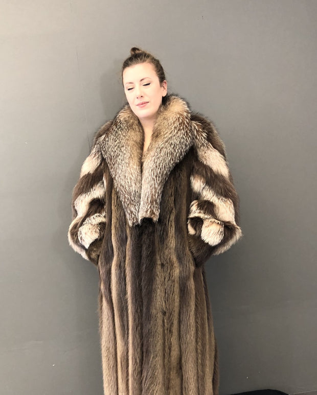 Vintage Ebony Dyed Beaver Coat with Crystal Fox Collar & Spiral Sleeves