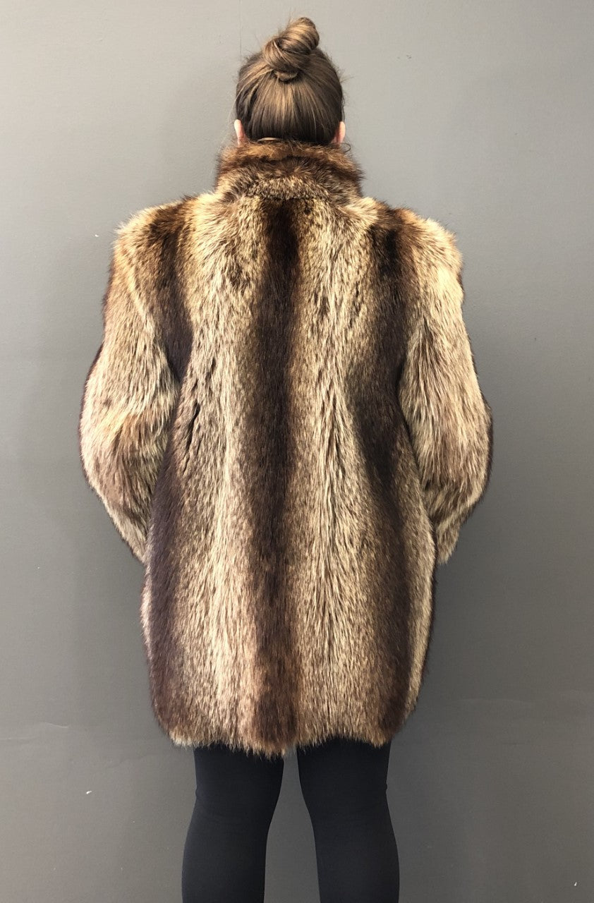 Vintage Natural Raccoon 3/4 Jacket