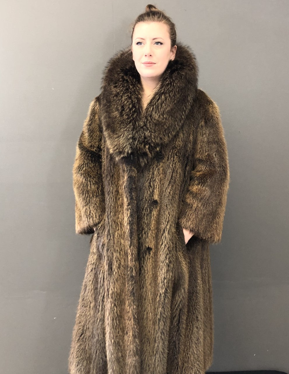 Vintage Nutria Coat with Raccoon Collar
