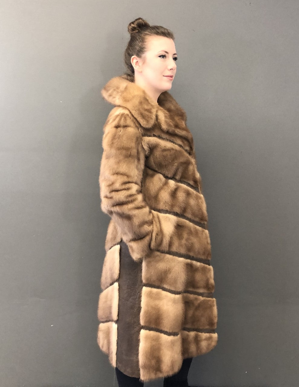Vintage Pastel Mink Coat with Leather Inserts