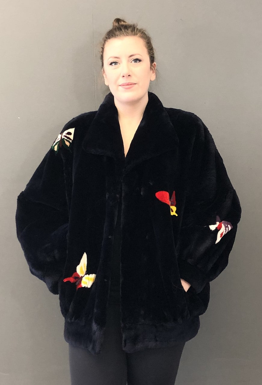 Vintage Sheared Beaver Jacket with Butterflies