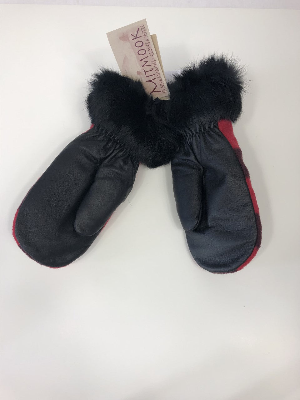 Black Leather & Polar Mittens with Black Rabbit trim