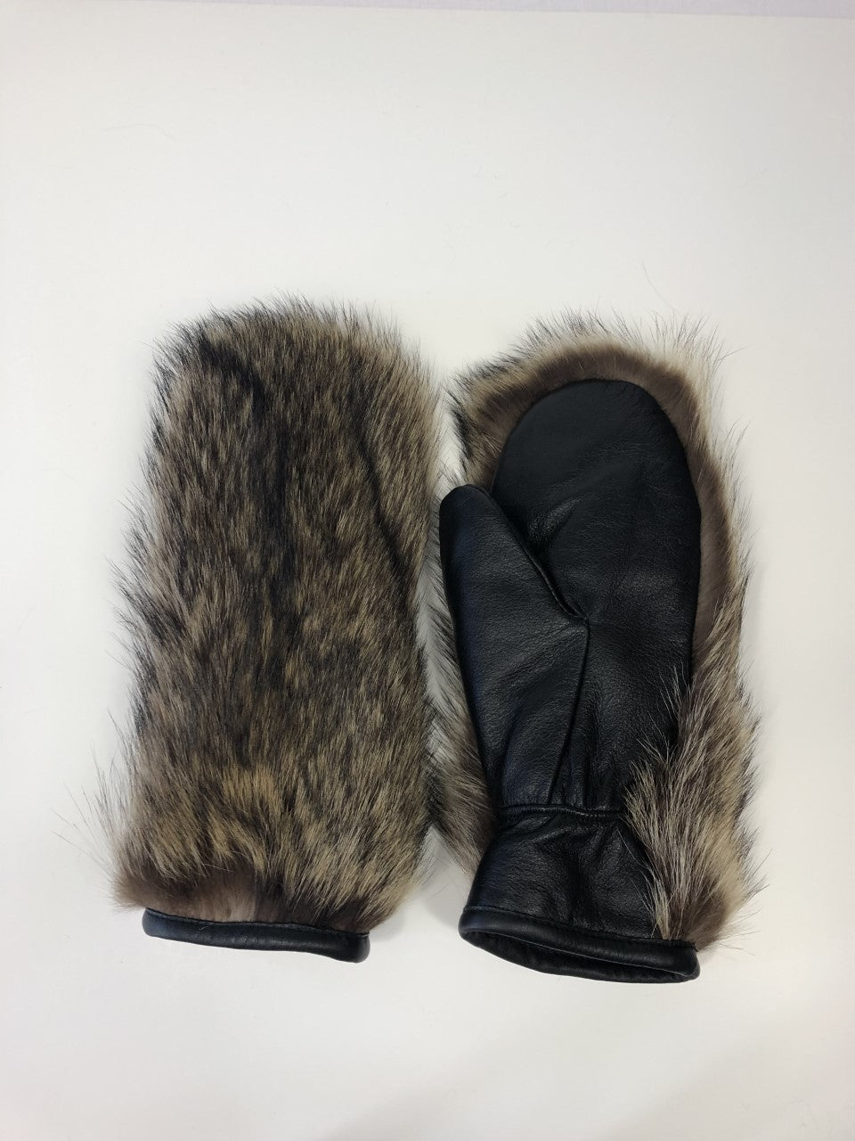 FURB Natural Raccoon Mittens with Leather