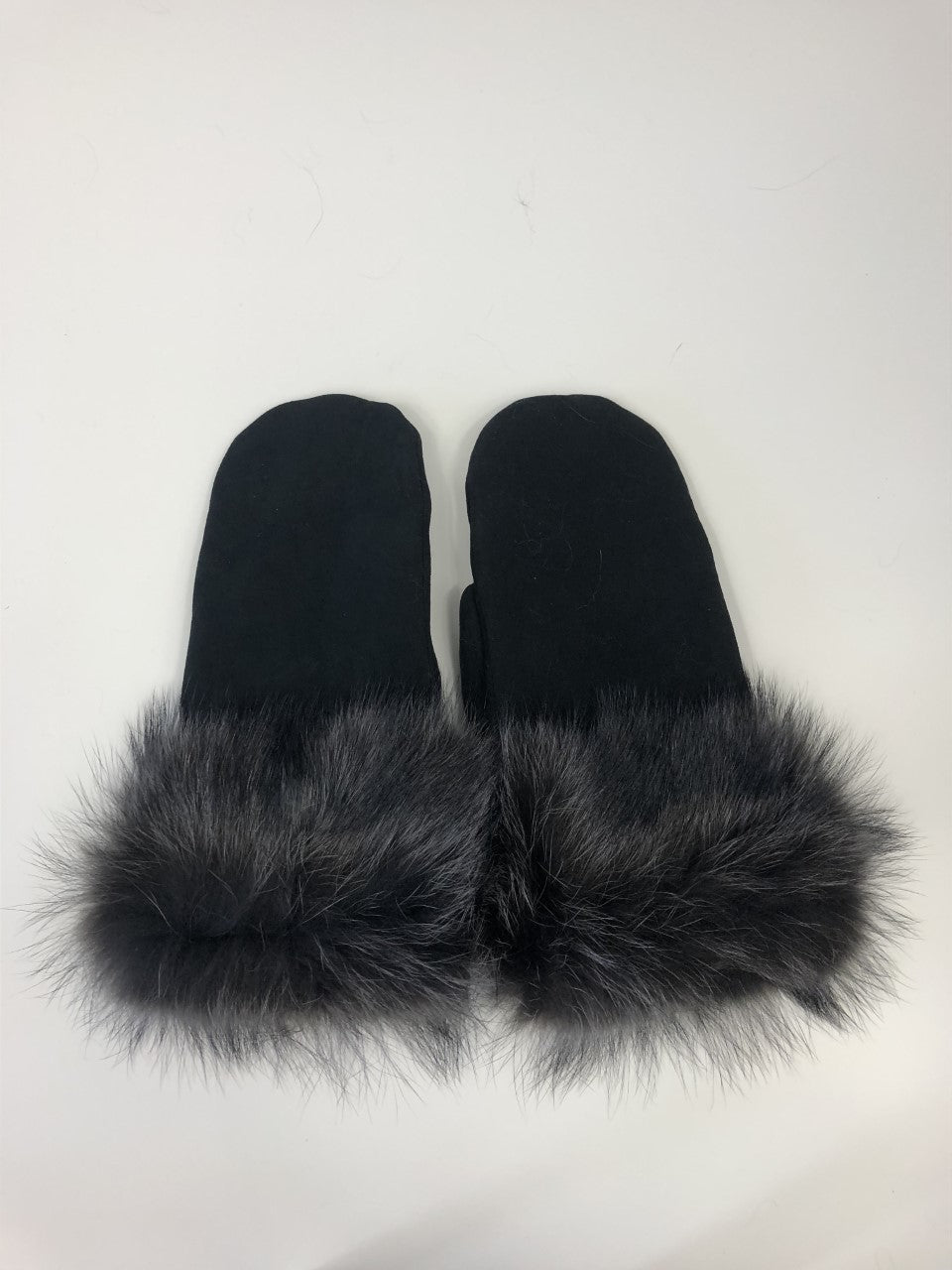 Black suede mittens - grey dyed raccoon trim