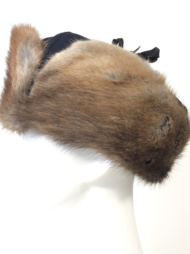 Natural Muskrat Hat with Melton Crown - Unisex