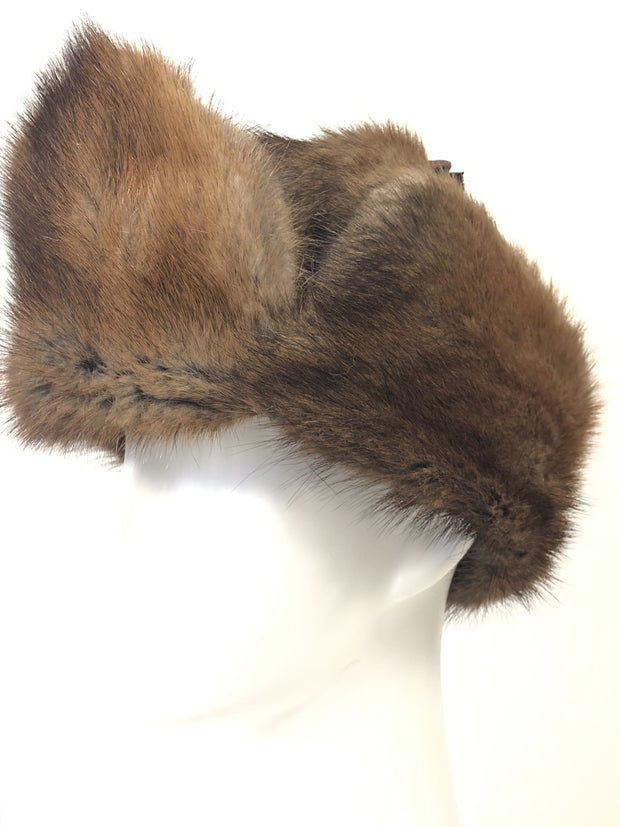 Natural Full Fur Muskrat RCMP Style Hat-Unisex