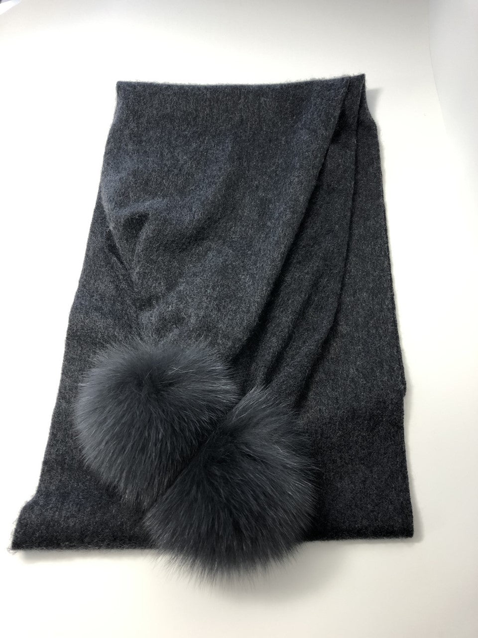 Cashmere Scarf with Fox Pompoms