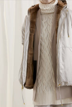 Load image into Gallery viewer, Hooded Nylon Jacket with sheared Demi Buff Mink