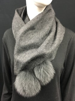 100% Cashmere Scarf with Fox Pompoms 27 cm x 180 cm