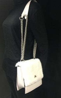 Pearl mink, Fur & Leather Convertible Bag