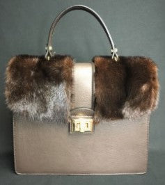 ERA Mink Tote Bag With Leather Brown