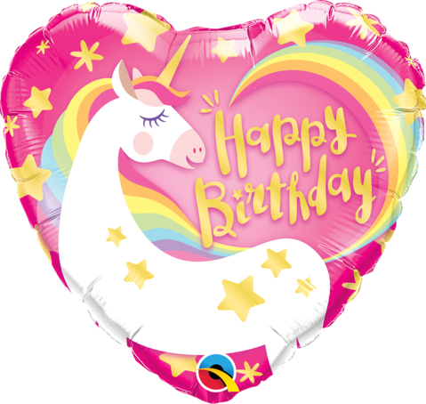 "18"" Helium 'Happy Birthday Unicorn' Balloon"