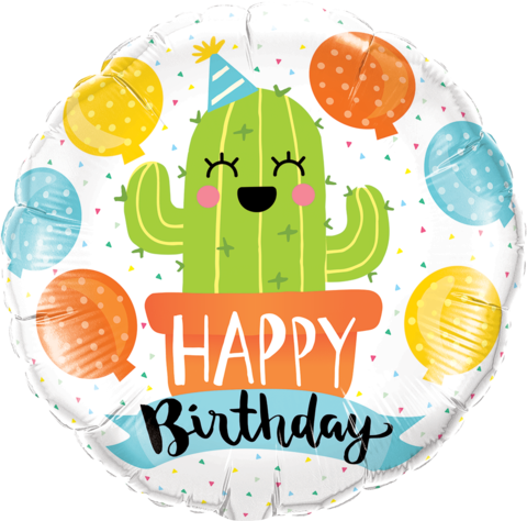 "18"" Helium 'Happy Birthday Cactus' Balloon"