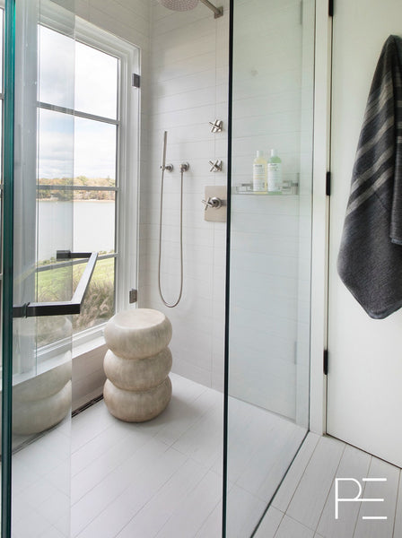 plankd, plankdedit, window in shower, stool in shower, glass shower, bathroom, stacked tile, beach modern