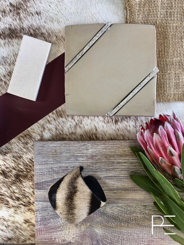 plankd, plankdedit, earthy modern, design board, hand painted tile, metal tile, metal mix, eggplant paint, white wash grey floor, white wash, grey floor, tile, stone, flooring, cow hide
