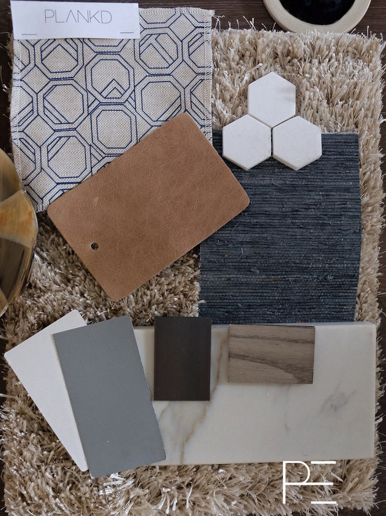plankd, plankdedit, i put a hex on you, hexagon tile, mosaic tile, Calisole fabric, cecilia walker, textiles, vans inspired, calacatta, stone, tile, paint, shag rug, leather, navy grasscloth