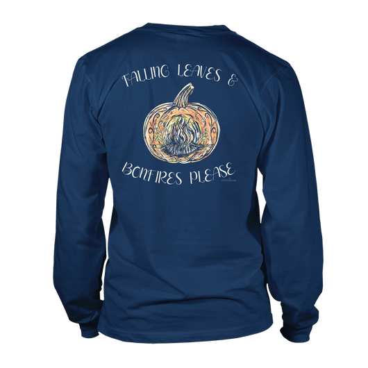 Bonfire Pumpkin- Long Sleeve- Navy