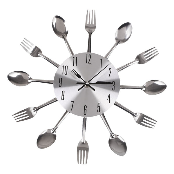 2016 Hot Sale wall clock New Modern Design Metal Cutlery Kitchen Style Clock Spoon Fork Wall Clock meetting room free shipping