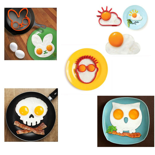 1 PCS Orange Silicone Bunny Cloud Sceleton Human Face Owl Cartoon Fried Fry Egg Frame Breakfast Mold Kitchen Tool Egg and Pancake Rings