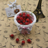 Lot of 20 PCS Mini Fake Glass Pomegranate Fruit Small Berries Artificial Flowers red cherry berry fruit Stamen Wedding Christmas Decorative