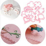 Lot of 12 pcs Rose Flower Sugarcraft Mold Lace Heart Cake Cookies Pastry Fondant Cutter Embossed Decorating Baking Frames