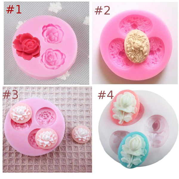 3d 3 hole small rose lotus flower round Arylic Resin silicone mold fondant sugar craft tools chocolate mould soap cake ice cookie