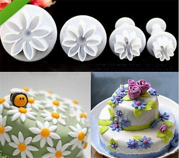 Lot of 4 Pcs Sunflower Plunger Daisy Flower Cookie Cake decorating tools Cupcake Kitchen fondant Kitchen accessories Cake mold Stand