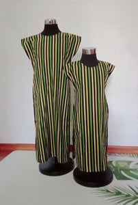 A) Long Slit Dress (Green Stripe)