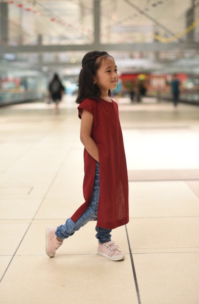 Long Slit Dress (Maroon)