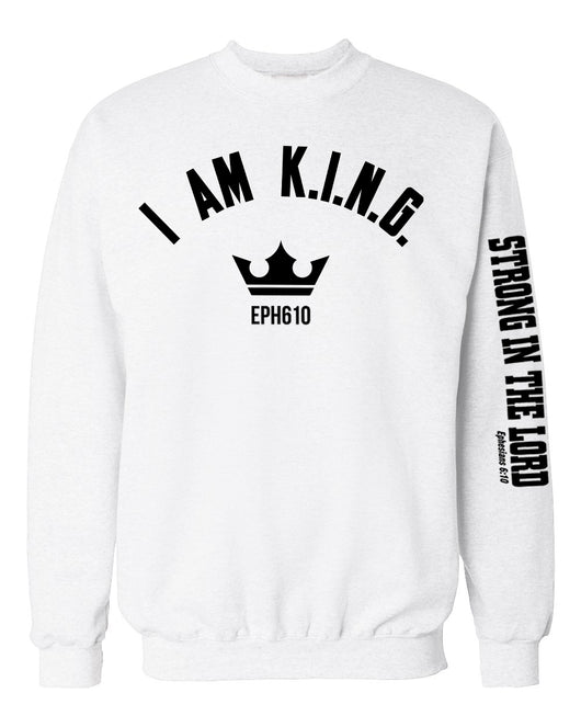 I AM KING Crew Neck Sweater (Strong In The Lord Sleeve) - White