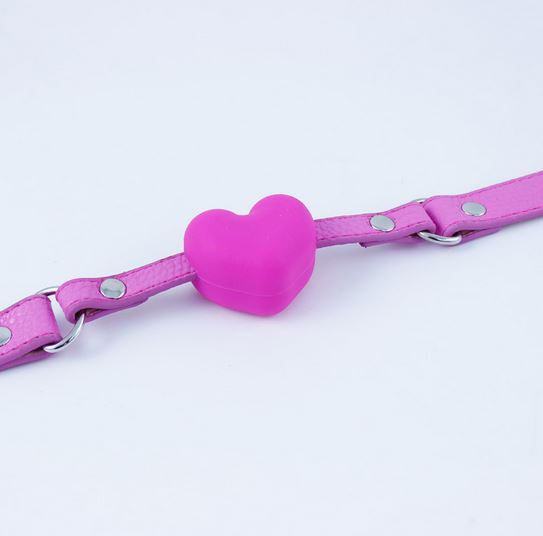 Silicone Pink Heart Open Mouth Gag