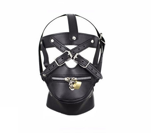 Leather Zipper Mouth Hood Bondage Mask