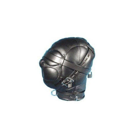 Flirty Black Leather Mask Hood with Lock