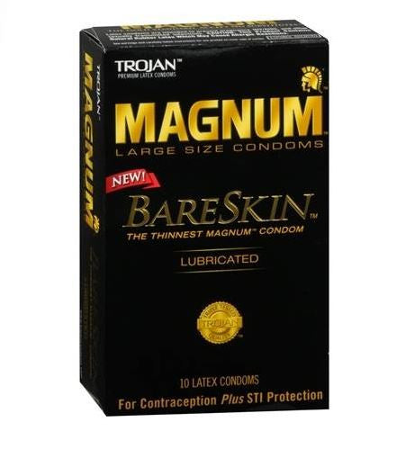 Trojan Magnum BareSkin Lubricated Latex Condoms- 10 Count