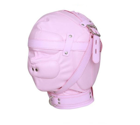Pink Leather Bondage Hood