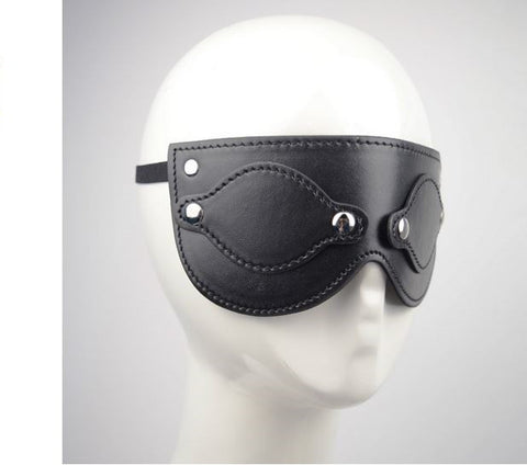 Black Leather Button Style Blindfold
