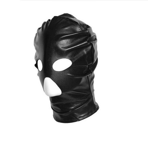 Black Leather Fantasy Hood Restraint Mask