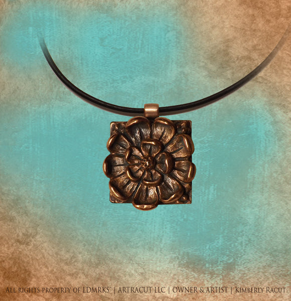 Florence Harkness Memorial Chapel Copper Pendant FHCCP-I with Genuine Natural Black Leather Cord