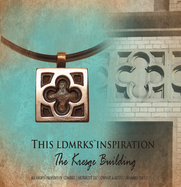 Kresge Building Copper Pendant KBNII with Genuine Natural Grey Leather Cord Necklace
