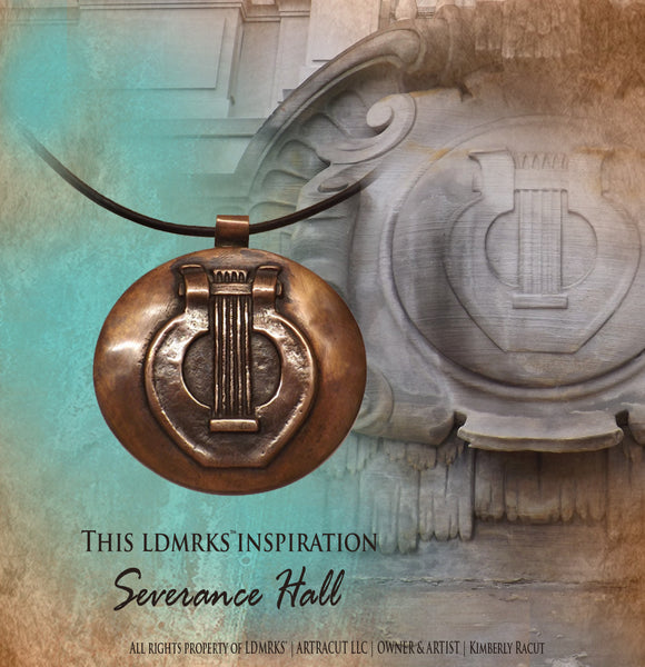 Severance Hall Copper Pendant with Genuine Natural Grey Leather Cord SHCP-I