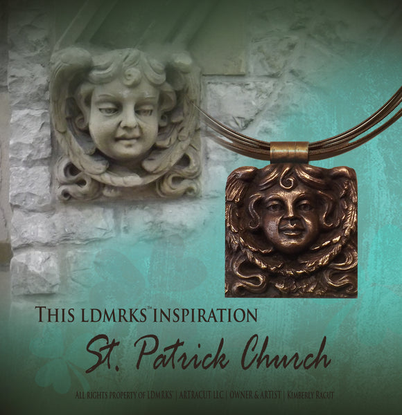 St Patrick Church Copper Pendant Necklace SPCCP-I with background photo