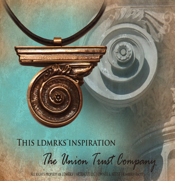 Union Trust Company Copper Pendant UTN-I with Genuine Natural Grey Leather Cord Necklace