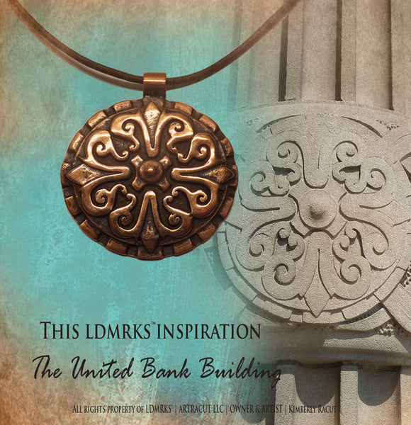 United Bank Building UBN-I with Genuine Natural Grey Leather Cord Necklace