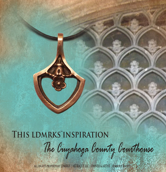 Cuyahoga County Courthouse Copper Pendant Necklace CCCN-I with Natural Grey Leather Cord